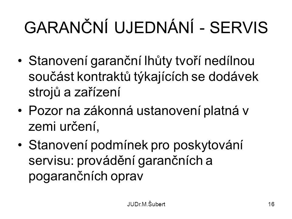 GARANČNÍ UJEDNÁNÍ - SERVIS