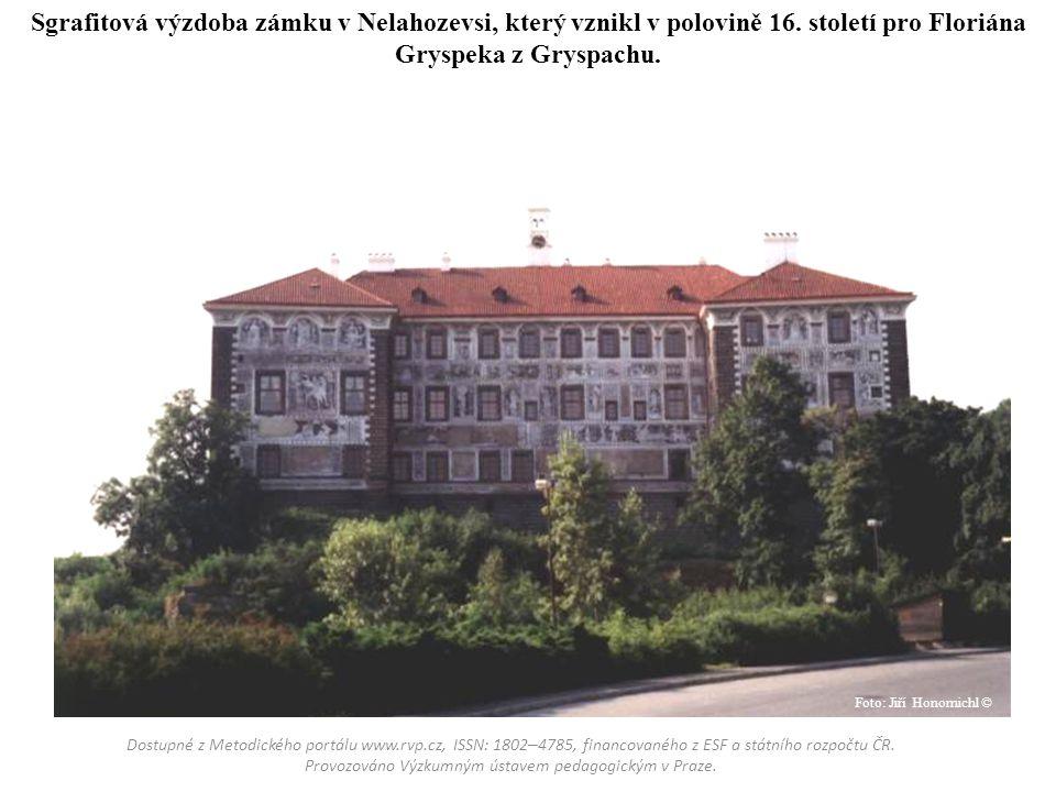 Sgrafitová výzdoba zámku v Nelahozevsi, který vznikl v polovině 16