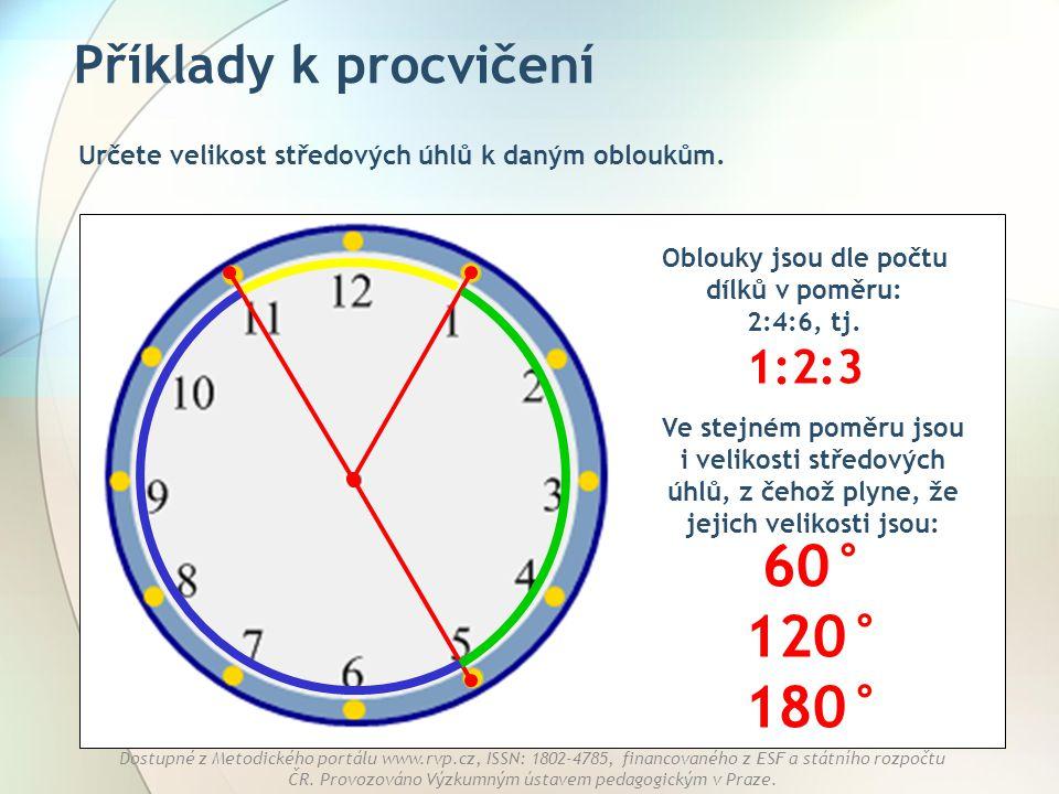Oblouky jsou dle počtu dílků v poměru: 2:4:6, tj. 1:2:3
