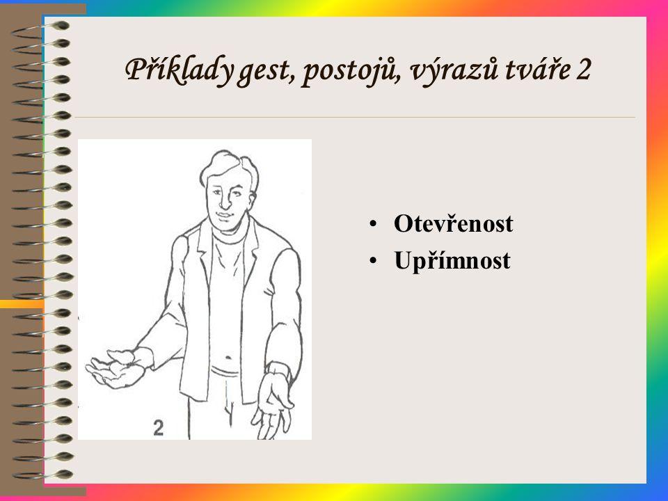 Příklady gest, postojů, výrazů tváře 2