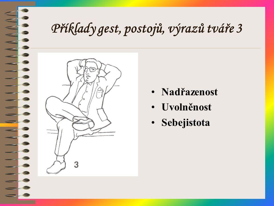 Příklady gest, postojů, výrazů tváře 3