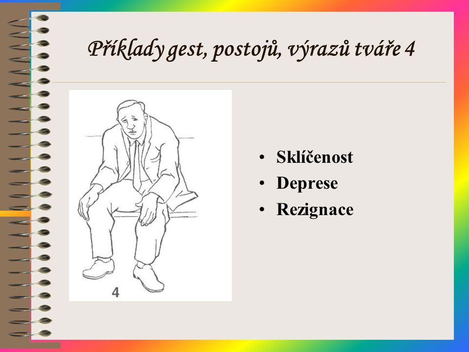 Příklady gest, postojů, výrazů tváře 4