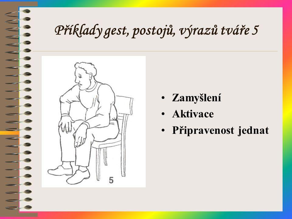Příklady gest, postojů, výrazů tváře 5