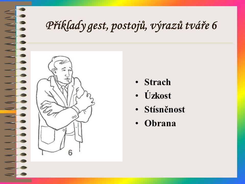 Příklady gest, postojů, výrazů tváře 6