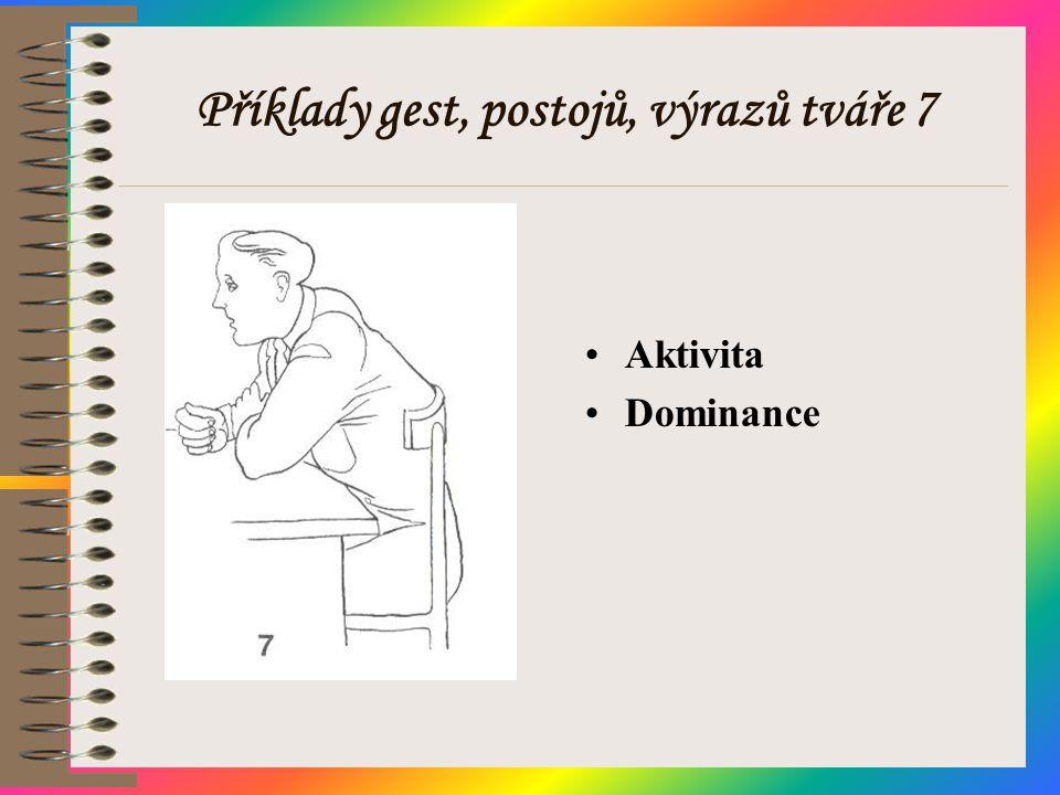 Příklady gest, postojů, výrazů tváře 7