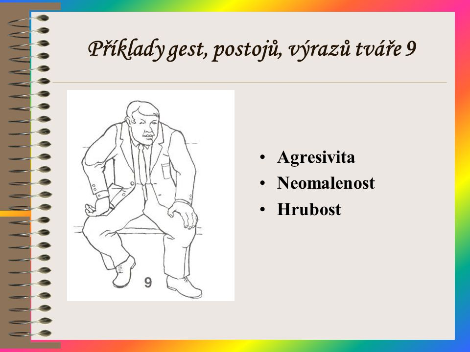 Příklady gest, postojů, výrazů tváře 9