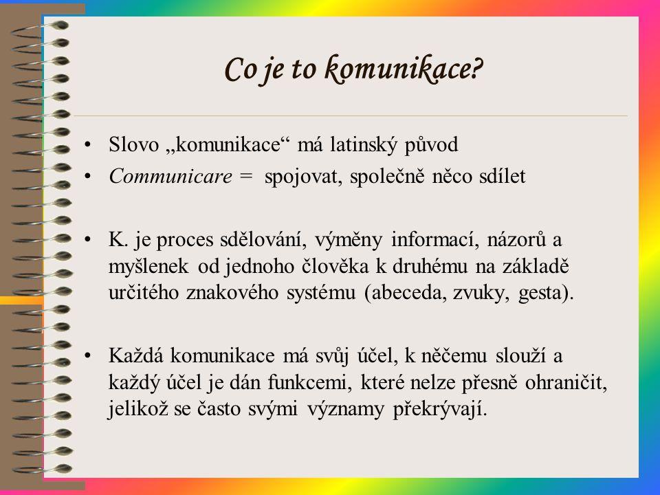 """Co je to komunikace Slovo """"komunikace má latinský původ"""