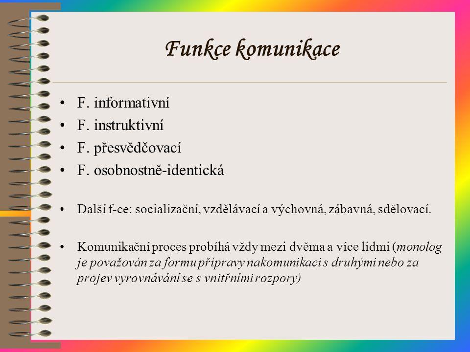 Funkce komunikace F. informativní F. instruktivní F. přesvědčovací