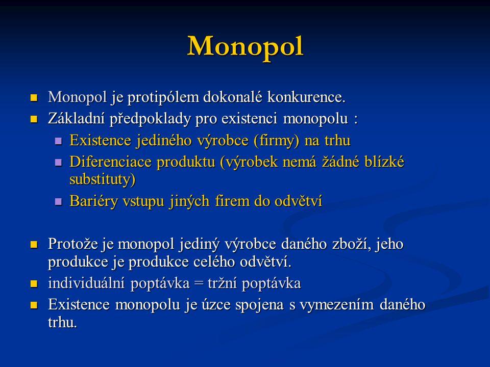 Monopol Monopol je protipólem dokonalé konkurence.