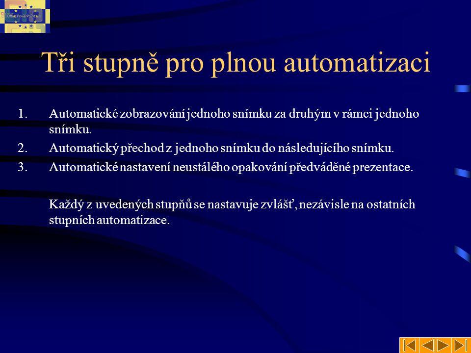 Tři stupně pro plnou automatizaci