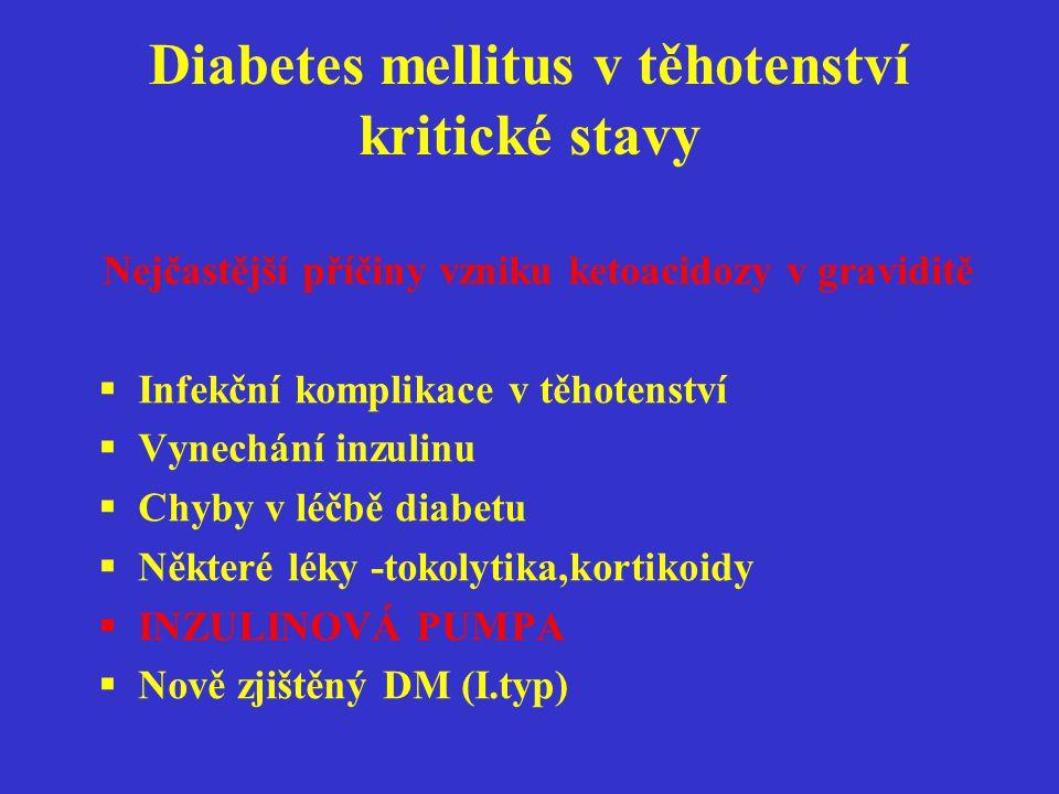 Diabetes mellitus v těhotenství kritické stavy