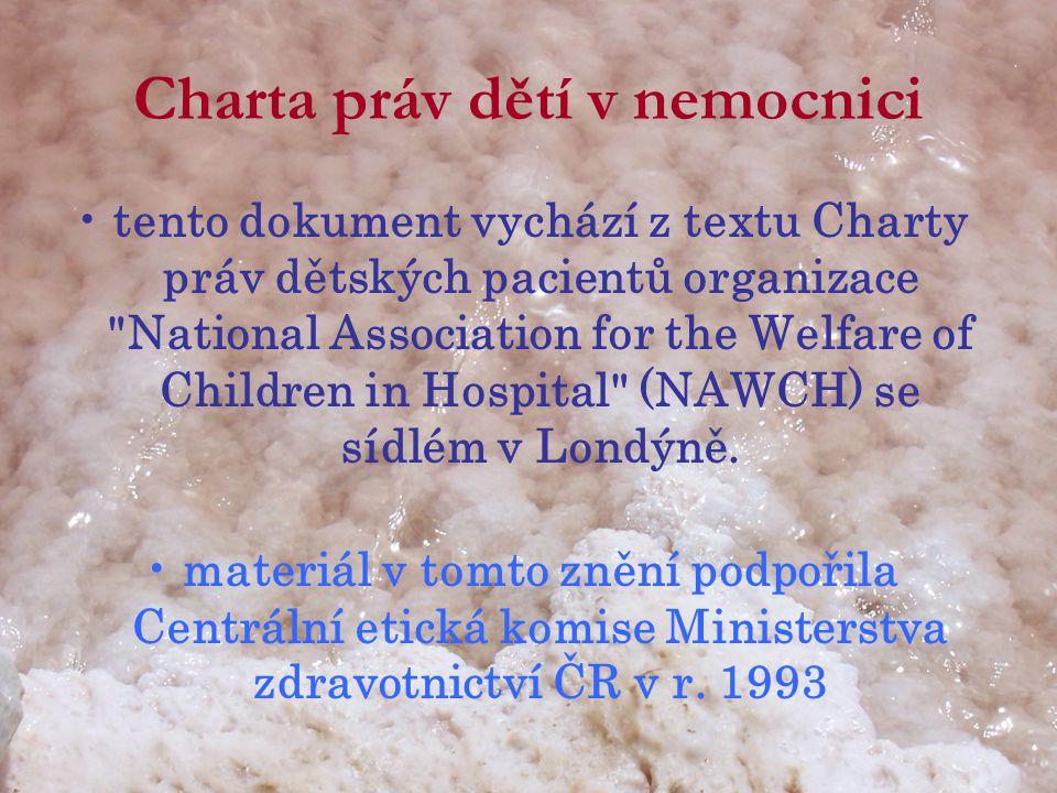 Charta práv dětí v nemocnici
