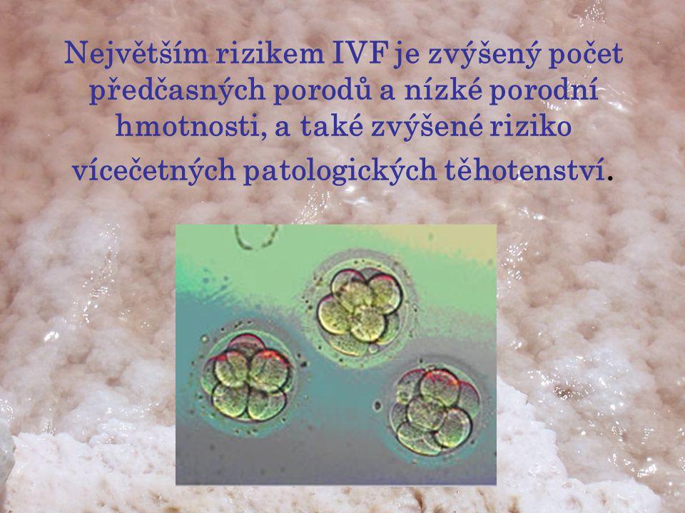 Největším rizikem IVF je zvýšený počet předčasných porodů a nízké porodní hmotnosti, a také zvýšené riziko vícečetných patologických těhotenství.