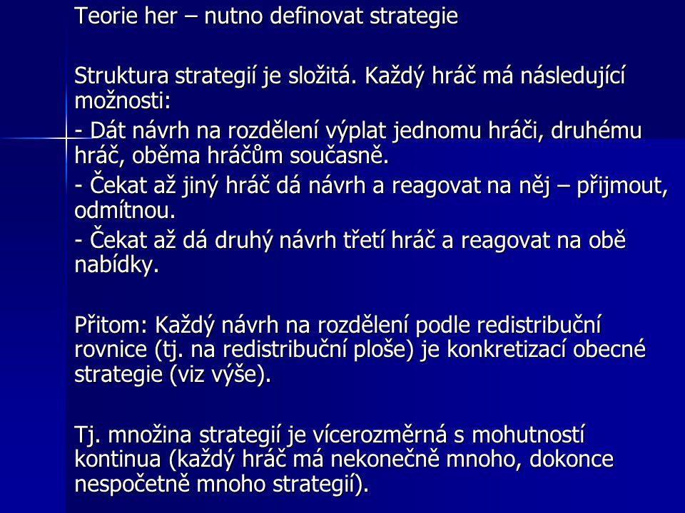 Teorie her – nutno definovat strategie