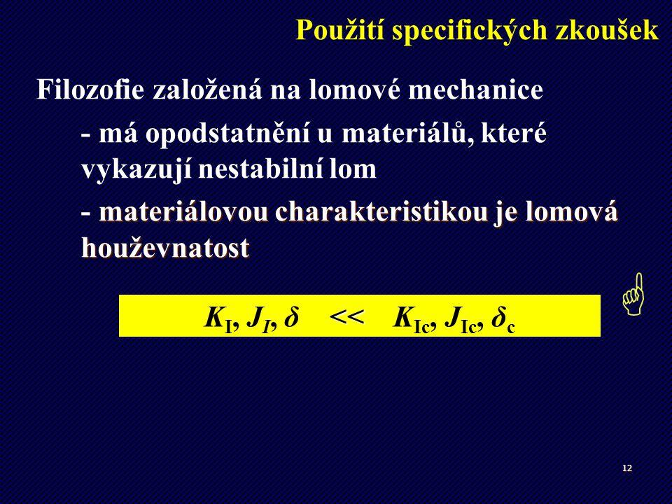 KI, JI, δ << KIc, JIc, δc
