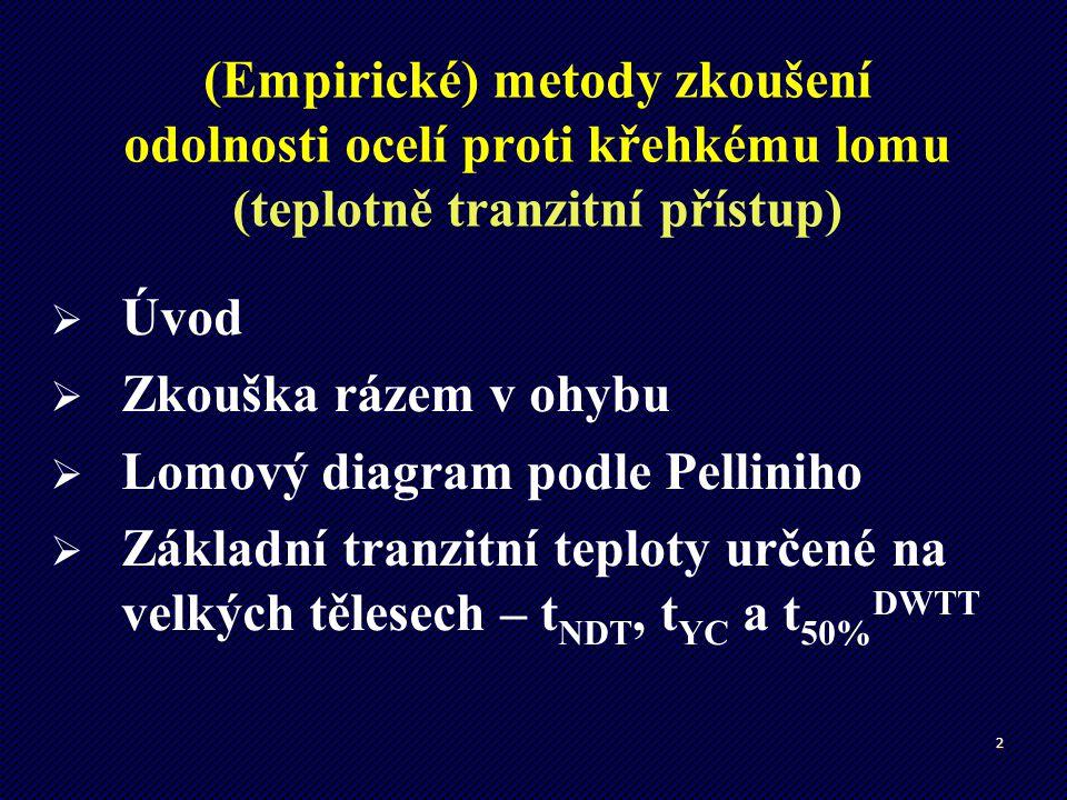 (Empirické) metody zkoušení odolnosti ocelí proti křehkému lomu (teplotně tranzitní přístup)