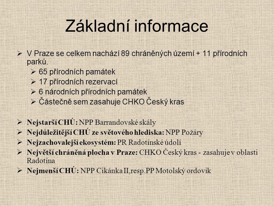 Základní informace V Praze se celkem nachází 89 chráněných území + 11 přírodních parků. 65 přírodních památek.