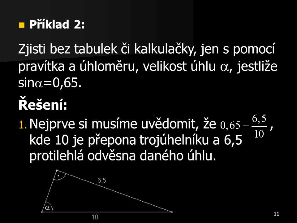 Příklad 2: Zjisti bez tabulek či kalkulačky, jen s pomocí pravítka a úhloměru, velikost úhlu , jestliže sin=0,65.