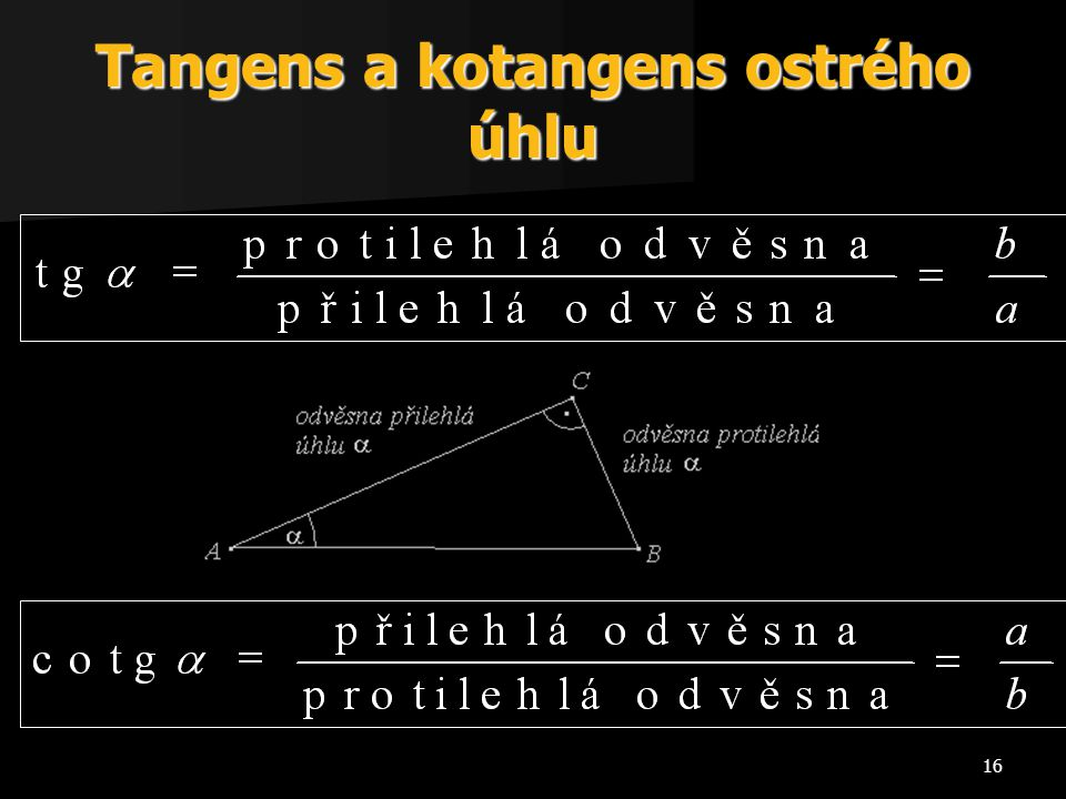 Tangens a kotangens ostrého úhlu