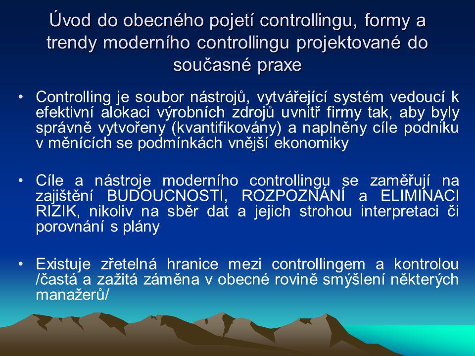 Úvod do obecného pojetí controllingu, formy a trendy moderního controllingu projektované do současné praxe