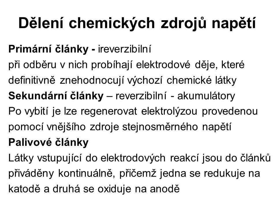 Dělení chemických zdrojů napětí