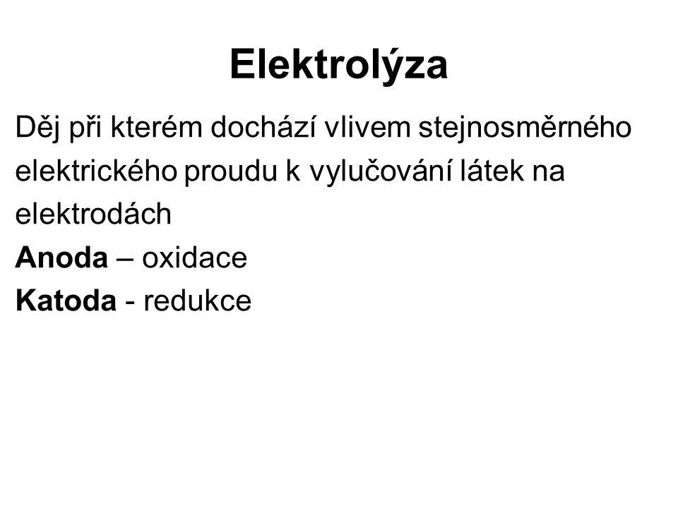 Elektrolýza Děj při kterém dochází vlivem stejnosměrného