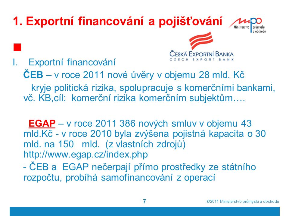 1. Exportní financování a pojišťování