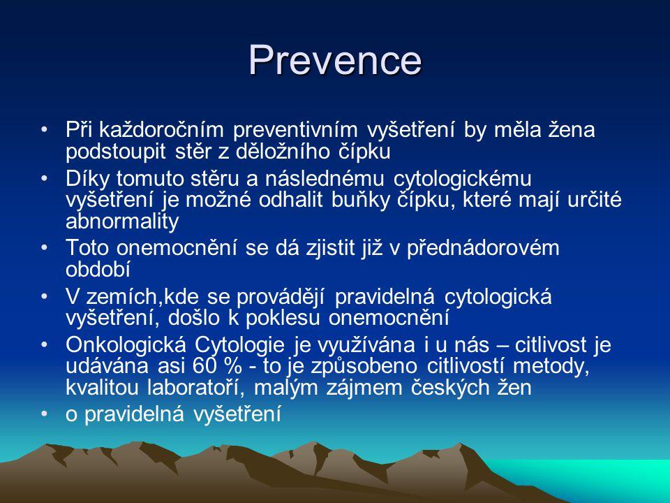 Prevence Při každoročním preventivním vyšetření by měla žena podstoupit stěr z děložního čípku.
