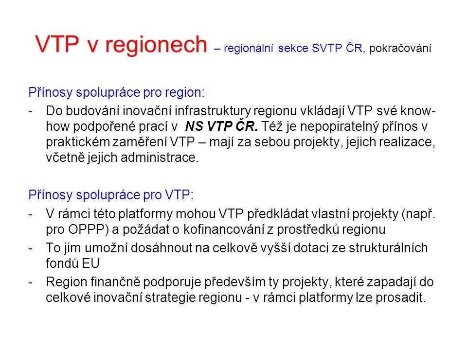 VTP v regionech – regionální sekce SVTP ČR, pokračování