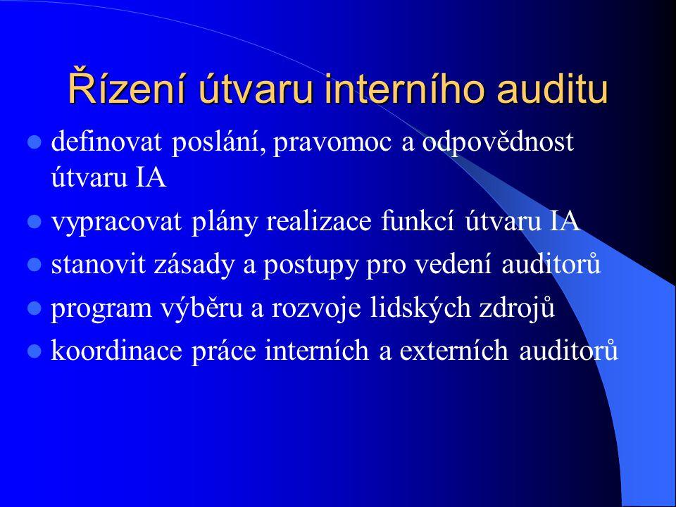 Řízení útvaru interního auditu