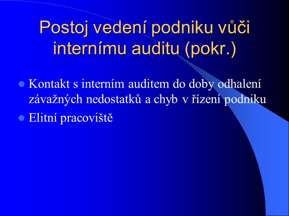 Postoj vedení podniku vůči internímu auditu (pokr.)