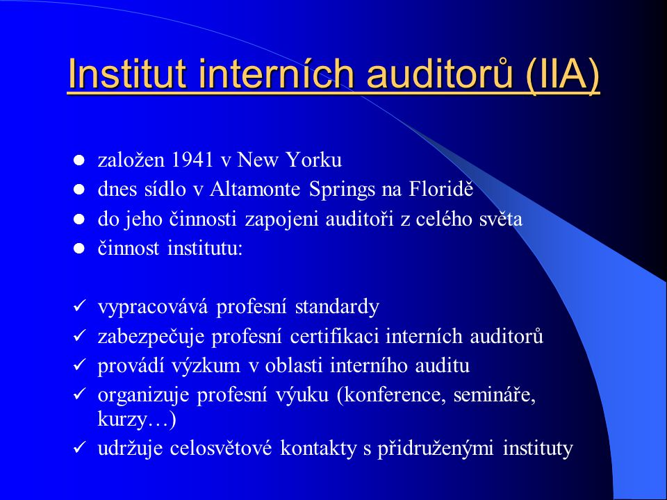Institut interních auditorů (IIA)