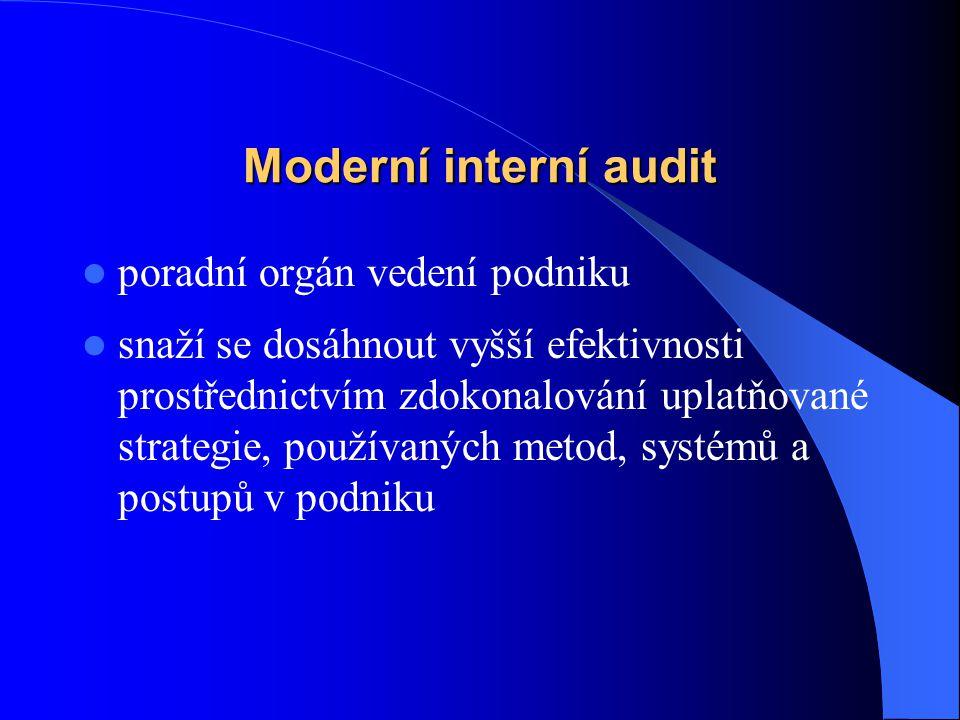 Moderní interní audit poradní orgán vedení podniku