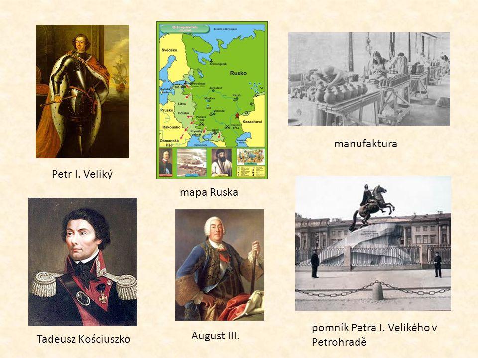 manufaktura Petr I. Veliký. mapa Ruska. pomník Petra I.
