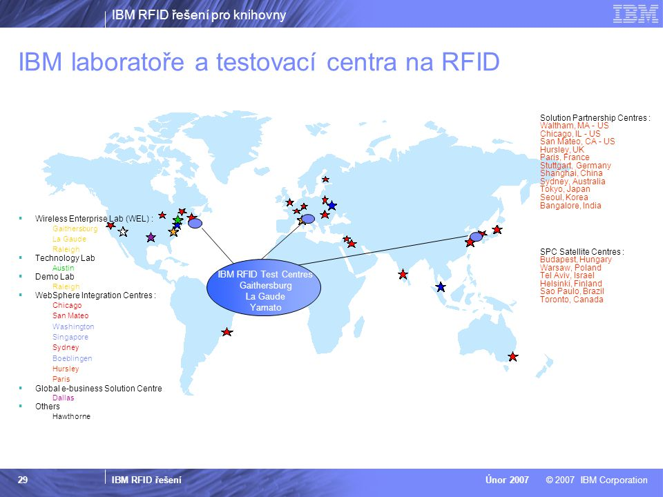 IBM laboratoře a testovací centra na RFID