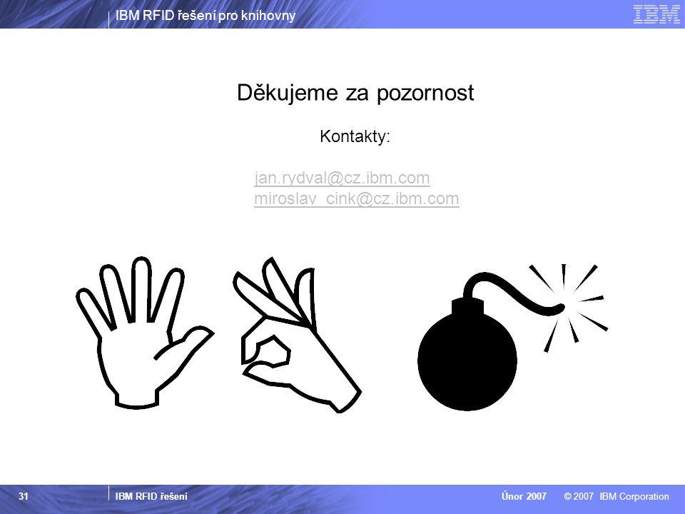 Děkujeme za pozornost Kontakty: jan.rydval@cz.ibm.com miroslav_cink@cz.ibm.com