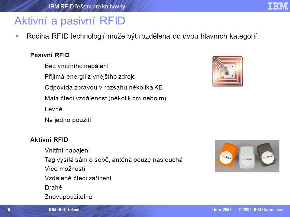 Aktivní a pasivní RFID Rodina RFID technologií může být rozdělena do dvou hlavních kategorií: Pasivní RFID.