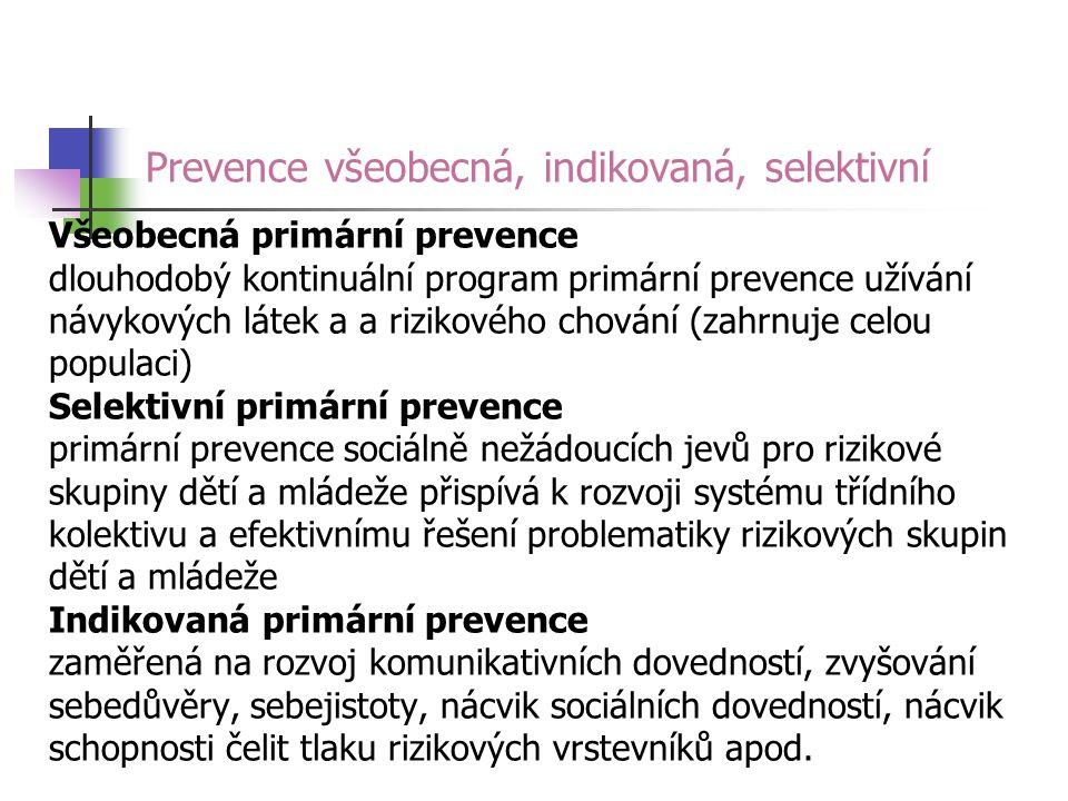 Prevence všeobecná, indikovaná, selektivní