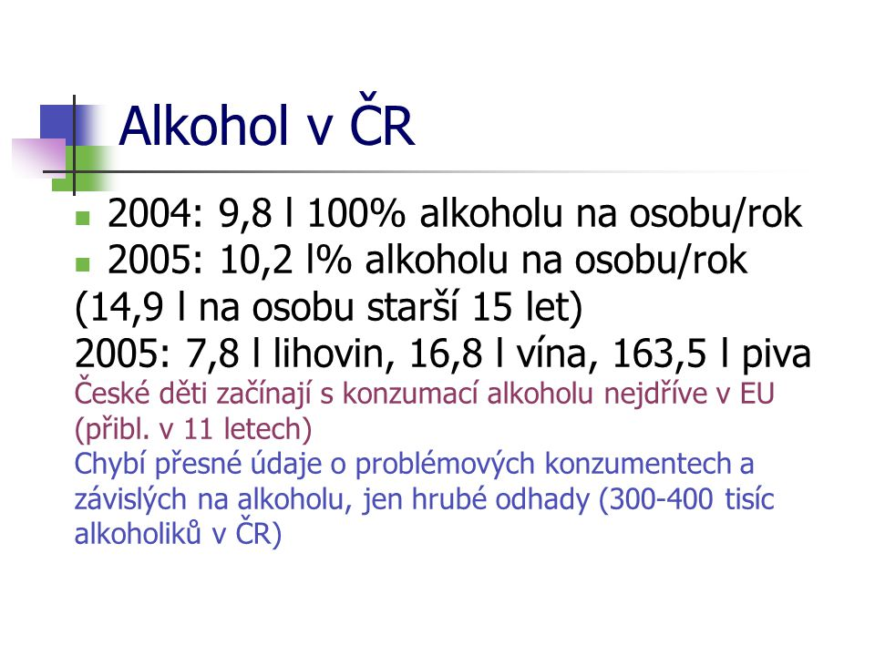 Alkohol v ČR 2004: 9,8 l 100% alkoholu na osobu/rok