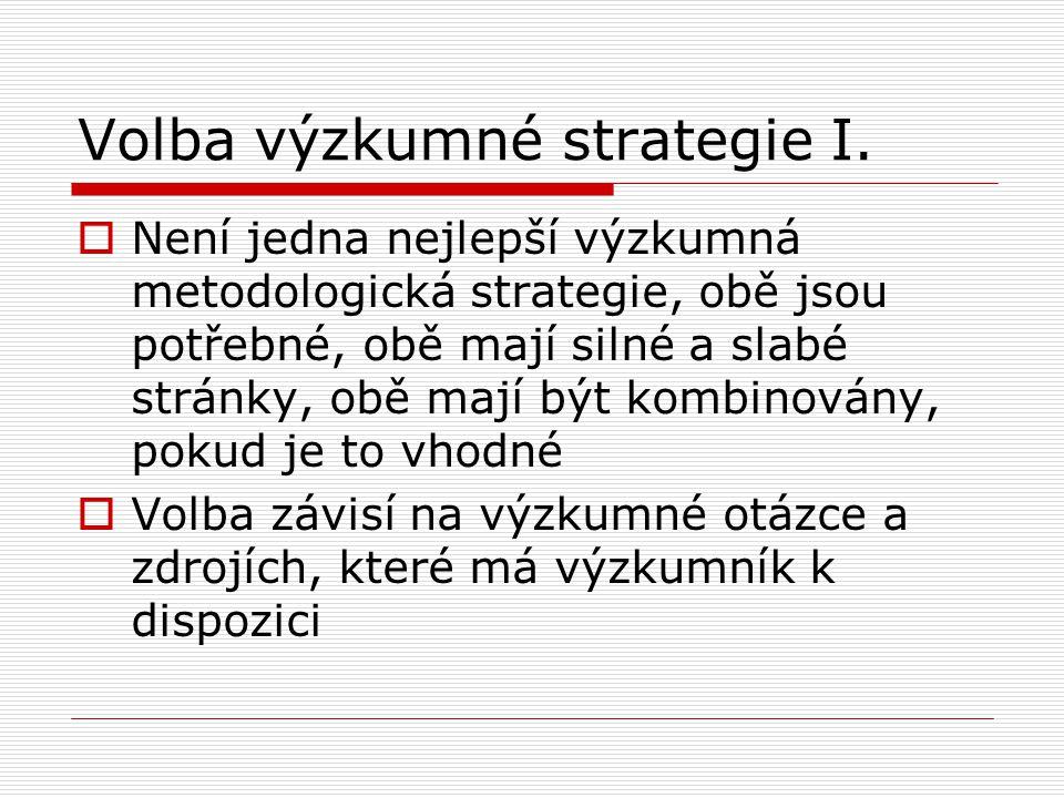 Volba výzkumné strategie I.