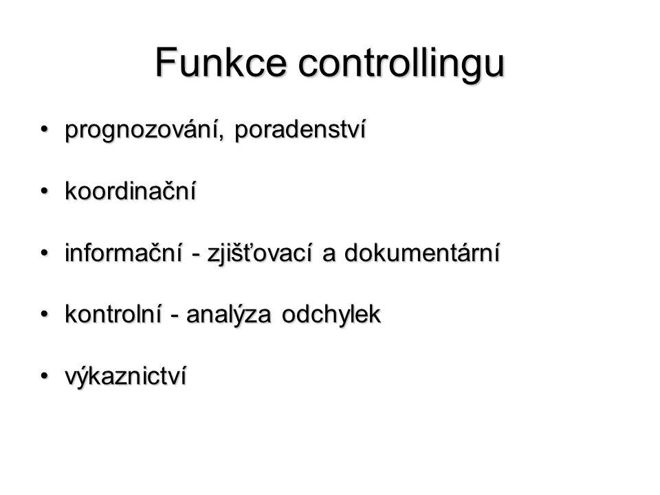Funkce controllingu prognozování, poradenství koordinační