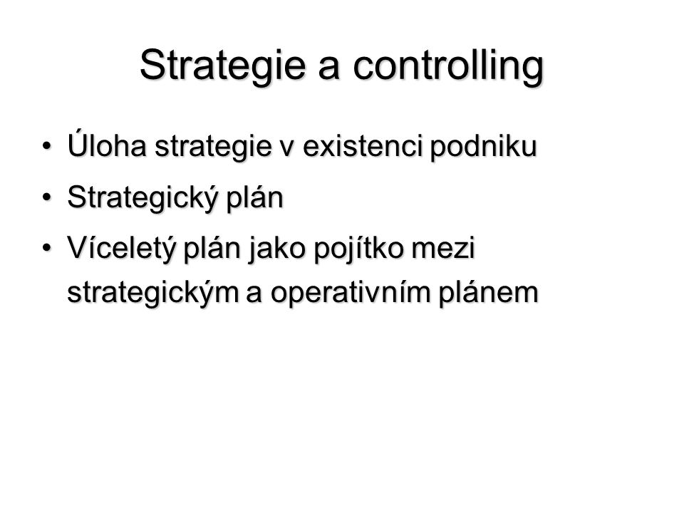 Strategie a controlling