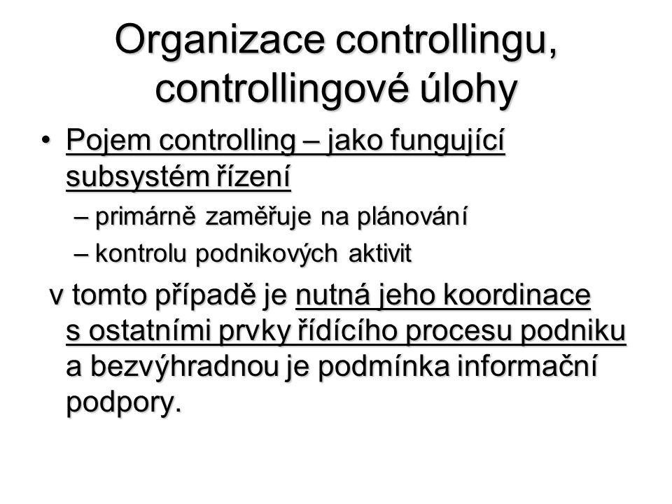 Organizace controllingu, controllingové úlohy