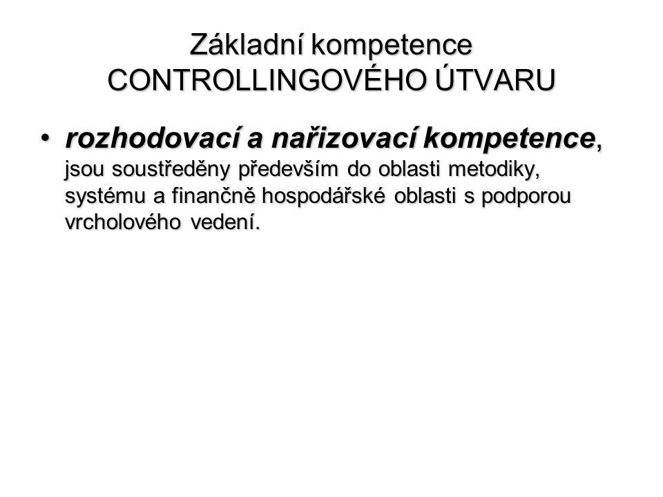 Základní kompetence CONTROLLINGOVÉHO ÚTVARU