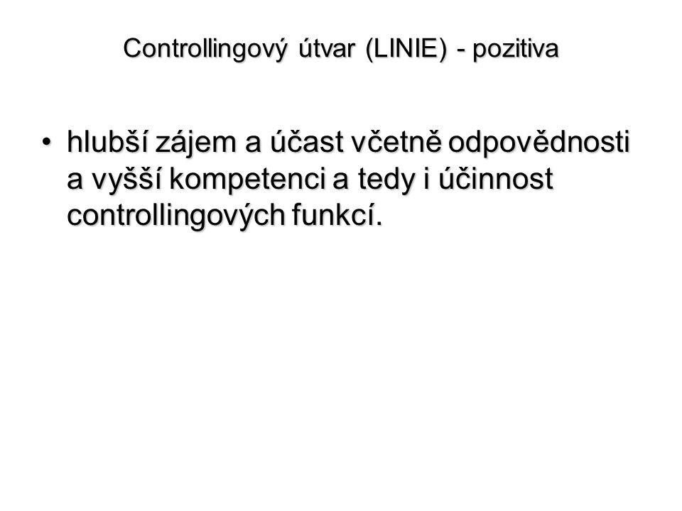 Controllingový útvar (LINIE) - pozitiva