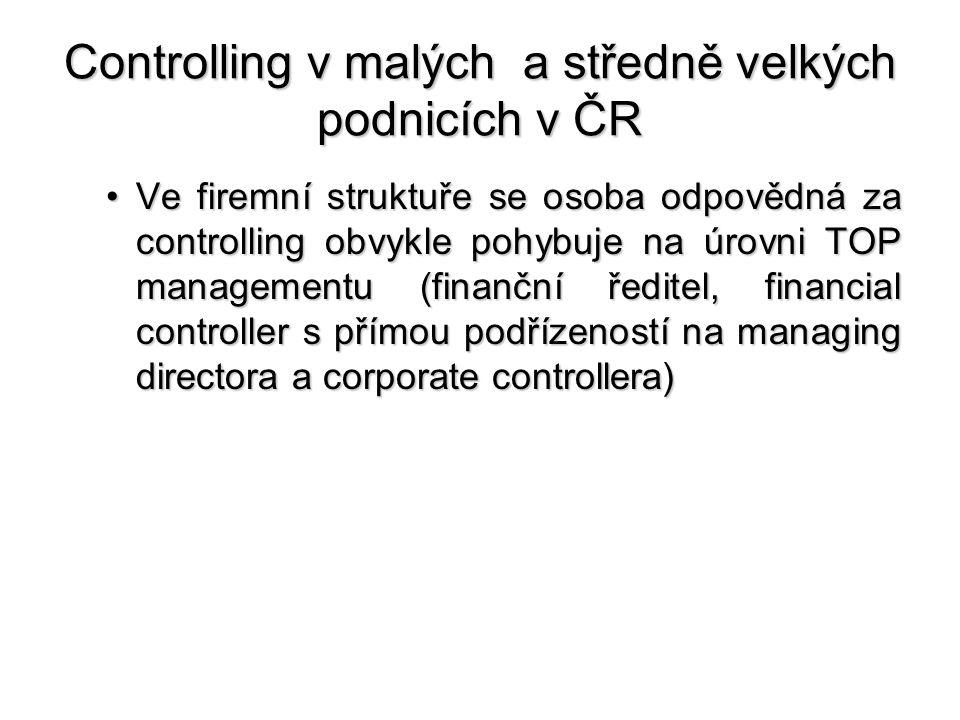 Controlling v malých a středně velkých podnicích v ČR