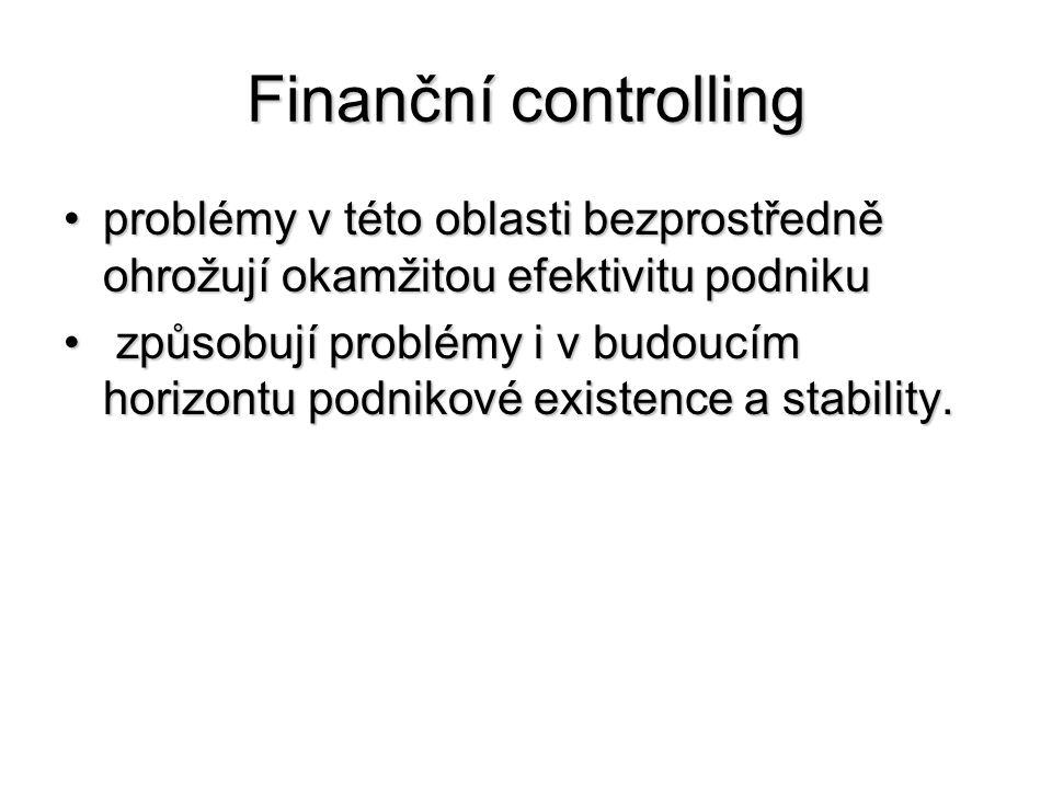 Finanční controlling problémy v této oblasti bezprostředně ohrožují okamžitou efektivitu podniku.