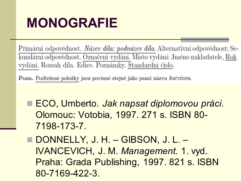 MONOGRAFIE ECO, Umberto. Jak napsat diplomovou práci. Olomouc: Votobia, 1997. 271 s. ISBN 80-7198-173-7.