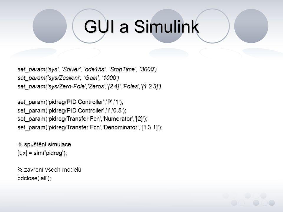 GUI a Simulink set_param( sys , Solver , ode15s , StopTime , 3000 ) set_param( sys/Zesileni , Gain , 1000 )