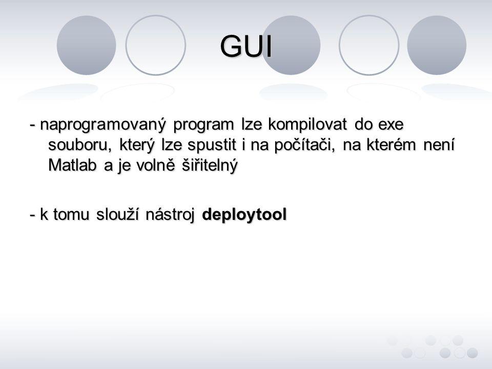 GUI - naprogramovaný program lze kompilovat do exe souboru, který lze spustit i na počítači, na kterém není Matlab a je volně šiřitelný.